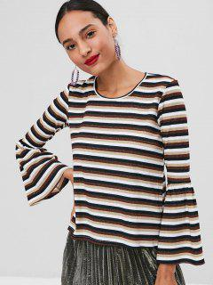 Ribbed Glitter Striped Bell Sleeve Sweater - Multi L
