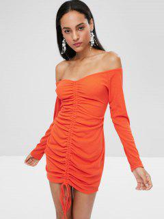 Long Sleeve Tie Ruched Bodycon Dress - Bright Orange M