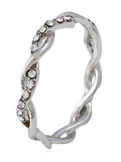 Rhinestone Decoration Alloy Twist Ring - Silver 8