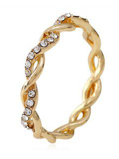 Rhinestone Decoration Alloy Twist Ring - Gold 7