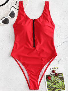Zipper High Leg Swimsuit - Love Red S