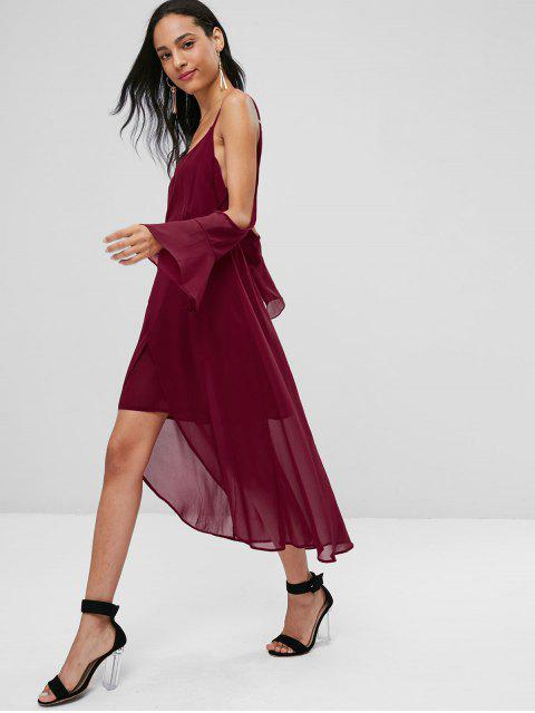 buy Asymmetrical Cold Shoulder Midi Dress - RED WINE M Mobile