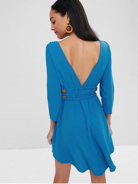 fashion Plunging Neck Cut Out Skater Dress - BLUE EYES L Mobile