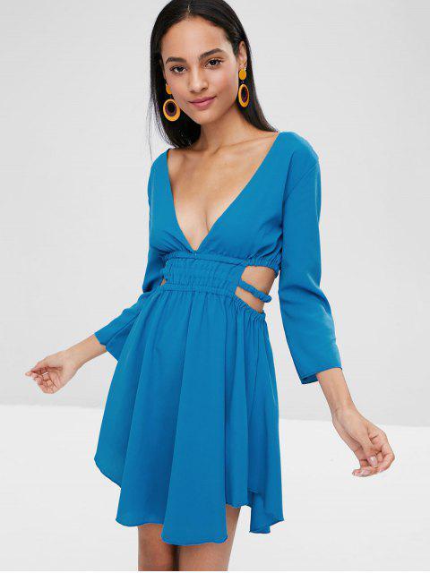 Tiefer Ausschnitt Ausgeschnittenes Skater Kleid - Blaue Augen L Mobile