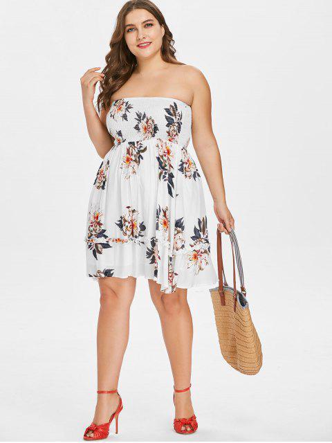 shops Floral Plus Size Tube Smocked Dress - WHITE L Mobile
