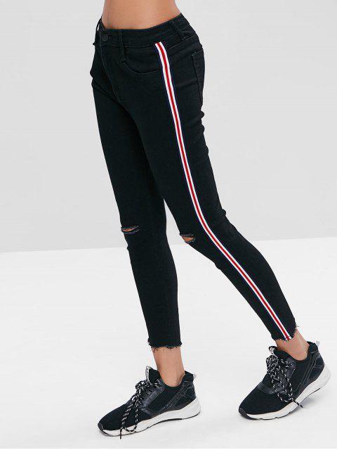 Seitliche Streifen Sportliche Skinny Knöcheljeans - Schwarz L Mobile