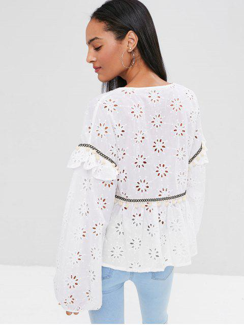 fashion Long Sleeve Tie Front Anglaise Broderie Top - WHITE M Mobile