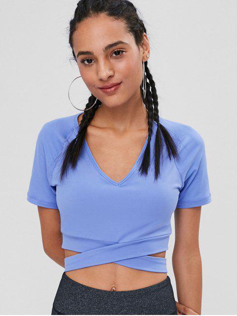 T-shirt de Gymnastique Rembourré Court et Enveloppant - Bleu Acier Léger M Mobile