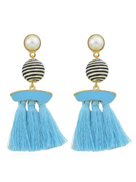Künstliche Perle Quasten baumeln Ohrringe - Blau Lagune  Mobile