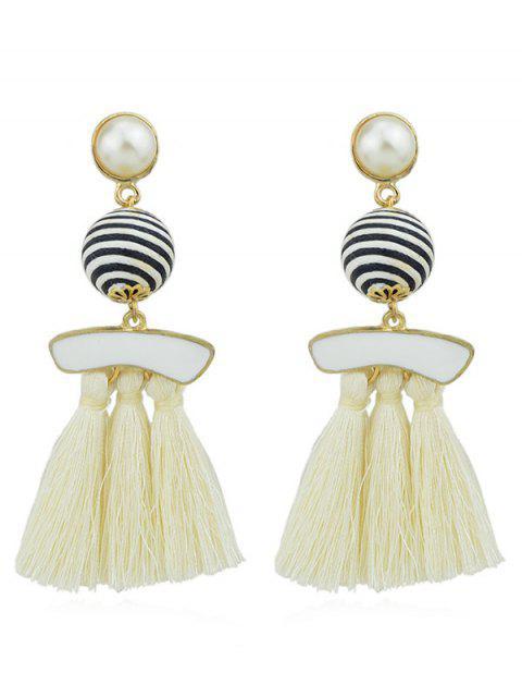 Boucles d'Oreilles Pendantes avec Pompons et Perle Fantaisie - Beige  Mobile