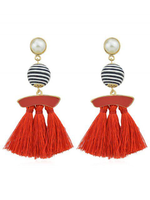 women's Artifical Pearl Tassels Dangle Earrings - RED  Mobile