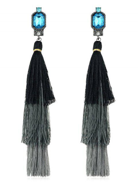 shop Rhinestone Layer Tassel Drop Earrings - BLACK  Mobile