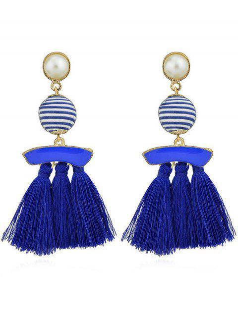 Borlas de perlas artificiales cuelgan aretes - Azul  Mobile