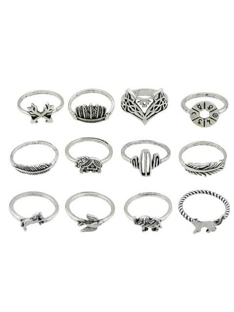 unique Animal Patterned Alloy Rings Set - SILVER ONE-SIZE Mobile