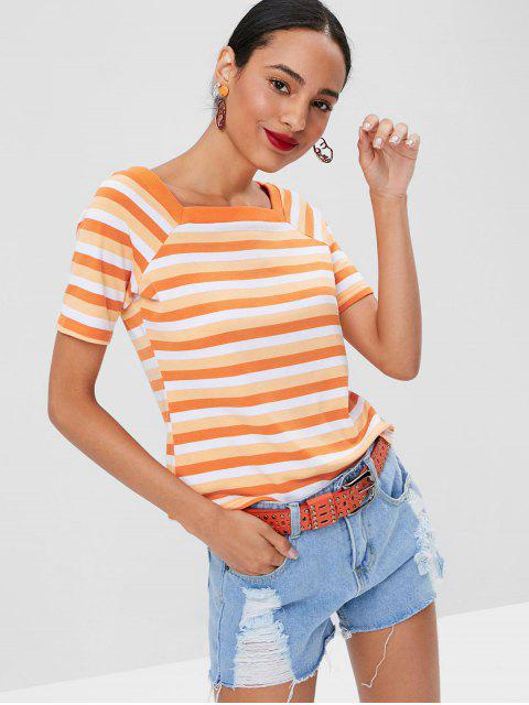 outfits Square Collar Striped T-shirt - MANGO ORANGE L Mobile