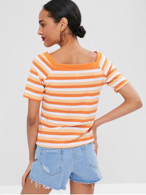 latest Square Collar Striped T-shirt - MANGO ORANGE S Mobile