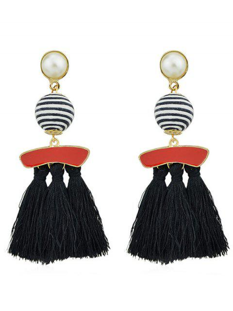 unique Artifical Pearl Tassels Dangle Earrings - BLACK  Mobile