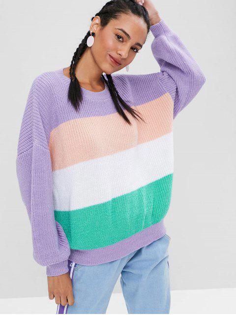 shop Chunky Striped Oversized Sweater - MULTI ONE SIZE Mobile