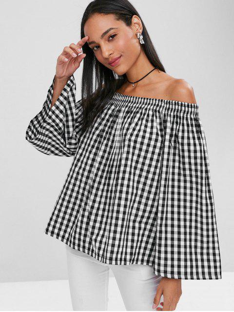 online Plaid Off Shoulder Blouse - BLACK S Mobile