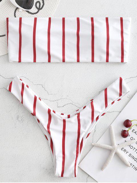 lady High Cut Bandeau Stripes Bikini Set - CHERRY RED L Mobile