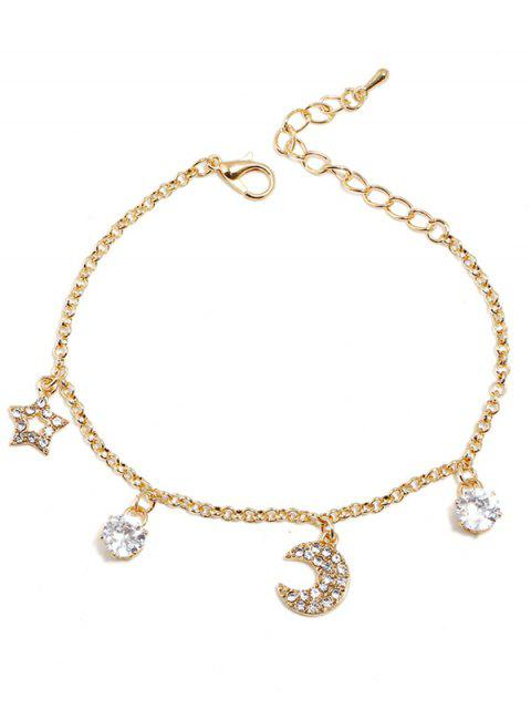 womens Star Moon Rhinestone Design Bracelet - GOLD  Mobile