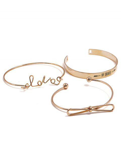 unique Letters Print Bowknot Design Bracelet Set - GOLD  Mobile