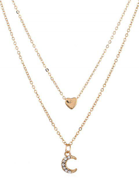 women Crescent Moon Heart Shape Layer Pendant Necklace - GOLD  Mobile