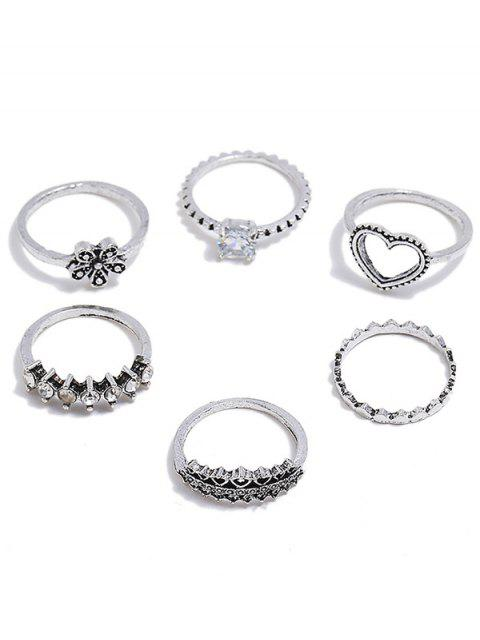 Heart Flower Design Rhinestone Decoration Rings Set - Plata Uno de tamaño Mobile