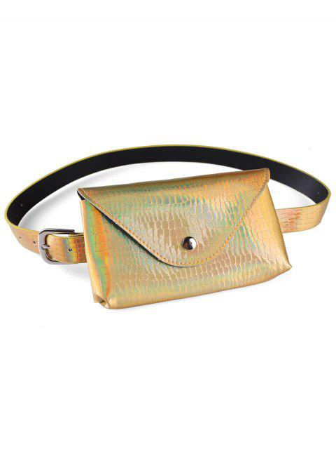 online Fanny Pack Decorative Faux Leather Skinny Belt Bag - GOLD  Mobile