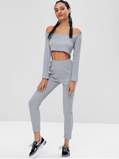 sale Ribbed Crop Top and Leggings Co Ord Set - GRAY M Mobile