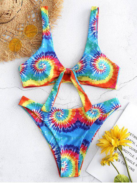 Bikini de teñido anudado de corte alto - Multicolor M Mobile