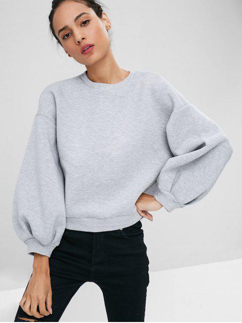 Laterne Ärmel Ausgeschnittenes Sweatshirt - Grau M Mobile