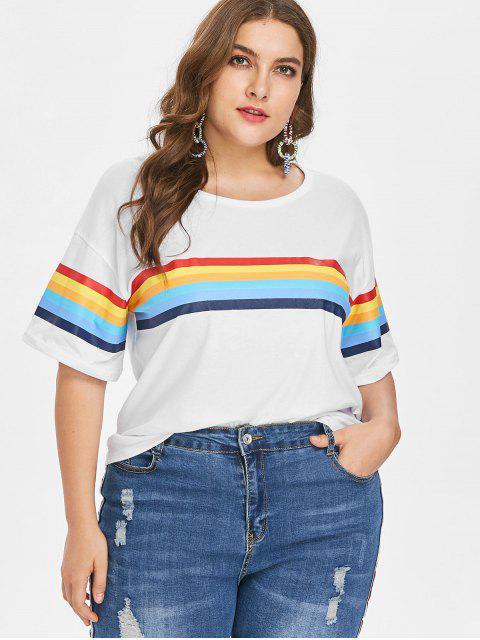 T-Shirt Rayé avec Manches à Demi Grande-Taille - Lait Blanc 4X Mobile