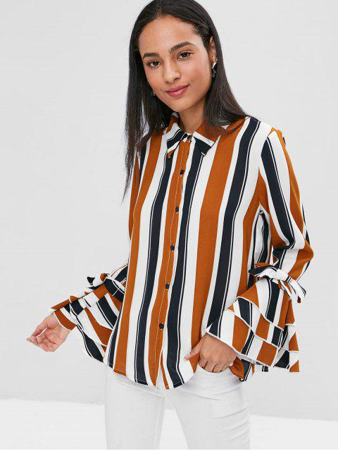 fancy Stripes Buttoned Flare Sleeve Shirt - MULTI L Mobile
