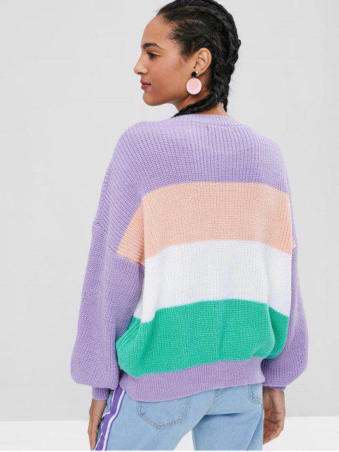 分厚いストライプの特大セーター - マルチ ワンサイズ Mobile