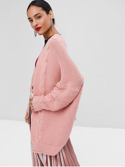 affordable Open Front Cable Knit Cardigan - LIGHT PINK S Mobile