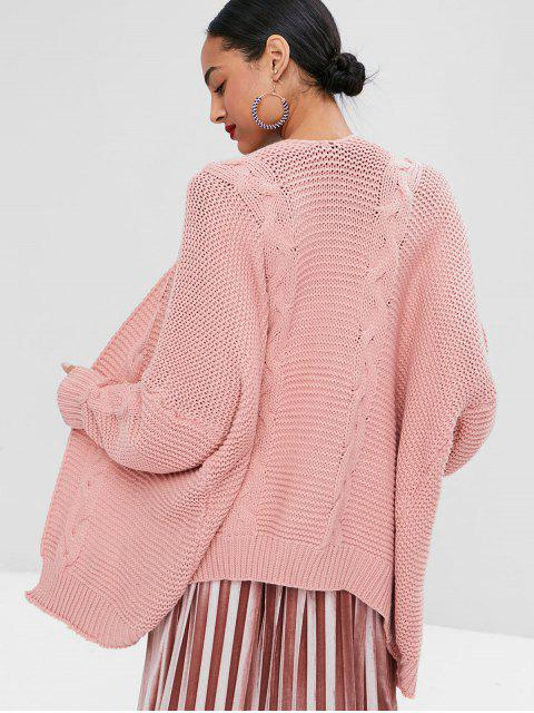 online Open Front Cable Knit Cardigan - LIGHT PINK L Mobile