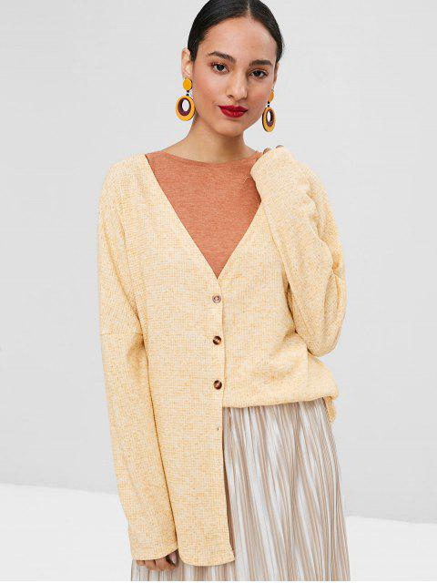 lady V Neck Button Up Cardigan - SUN YELLOW L Mobile
