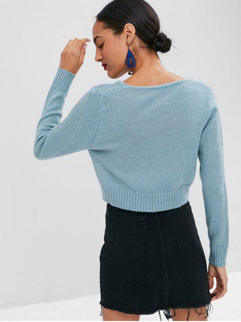 sale Cropped Plain Sweater - CYAN OPAQUE M Mobile