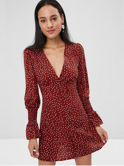 fancy Button Long Sleeve Empire Waist Polka Dot Dress - RED WINE M Mobile