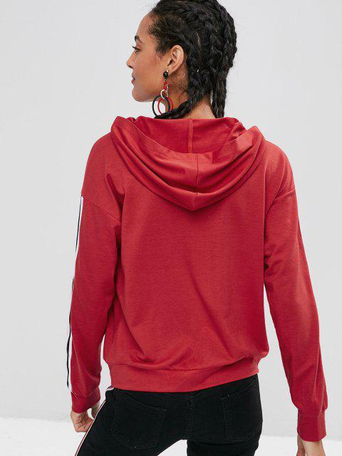 ladies Pocket Stripes Patched Hoodie - LAVA RED S Mobile