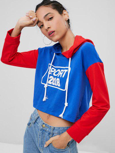 Graphic Color Block Crop Hoodie - Sapphire Blue M