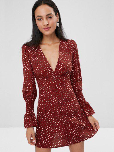 Button Long Sleeve Empire Waist Polka Dot Dress - Red Wine S