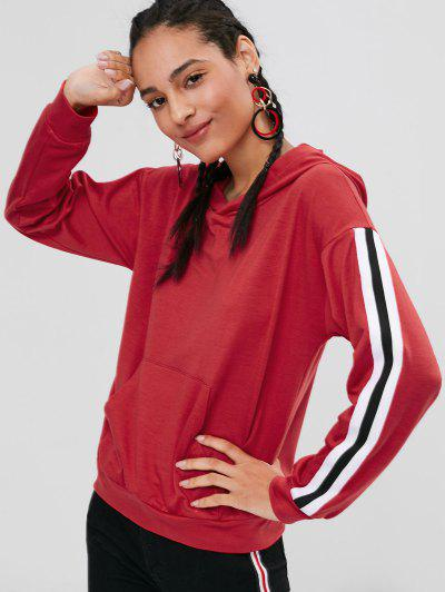 Pocket Stripes Patched Hoodie - Lava Red M
