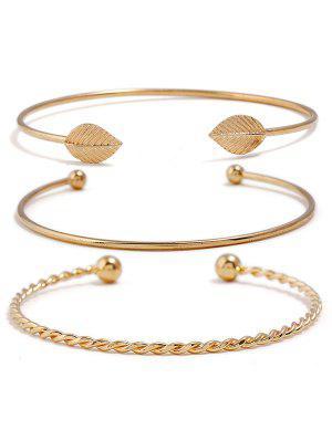 Blatt Design Twist einfache Manschette Armband Set