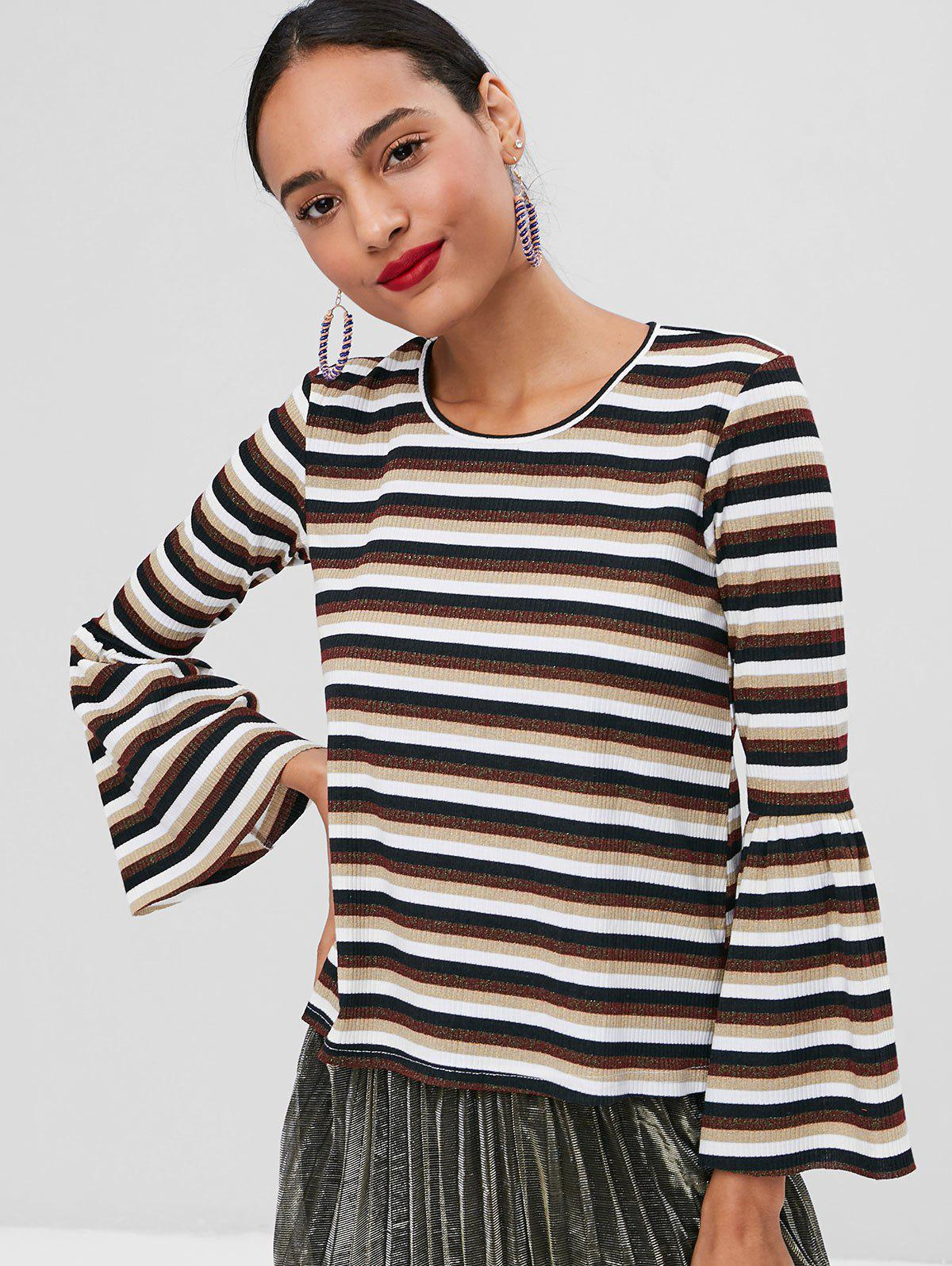 Ribbed Glitter Striped Bell Sleeve Sweater