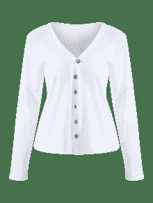 M Blusa Texturizada Blanco Botones Con qwqpSRT1xW