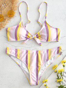 Front Knot Stripe Bikini - متعدد L