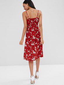 Con Botones Abotonado Floral Rojo Vestido S 4x8gFnq