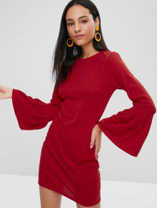 جرس كم طويل فستان ميني Bodycon - أحمر Xl